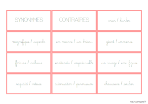 synonymes et contraires